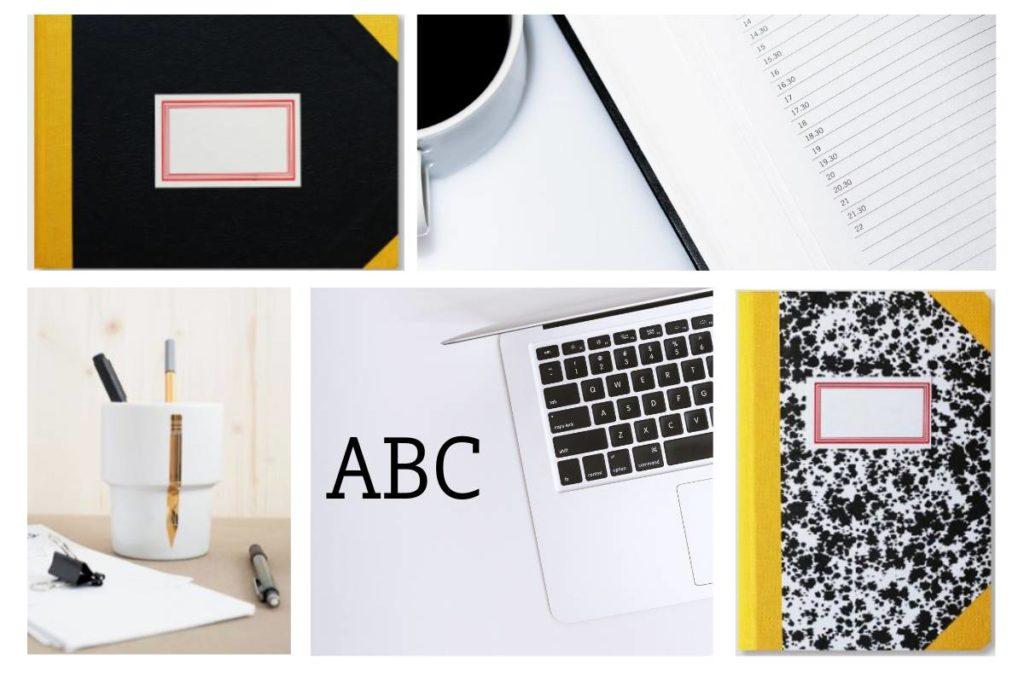 Zdjęcie notesów, laptopa, kubka z guzikami i kawy