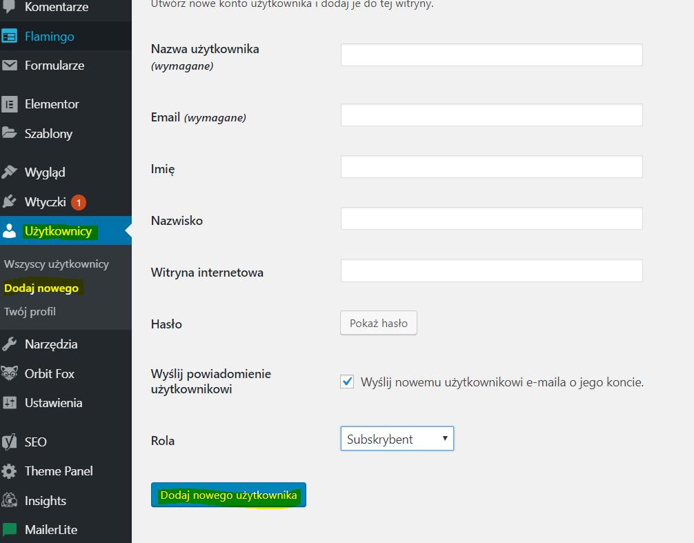 Zrzut ekranu pokazujący jak dodać nowego użytkownika w WordPressie.