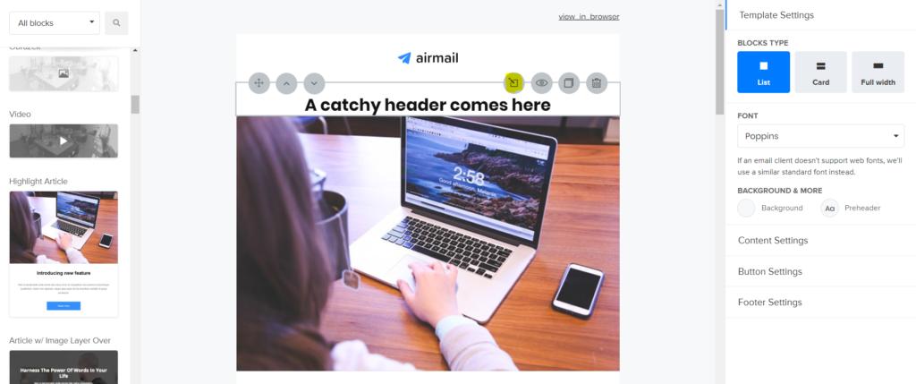 Jak edytować blok w edytorze drag and drop w Mailerlite?