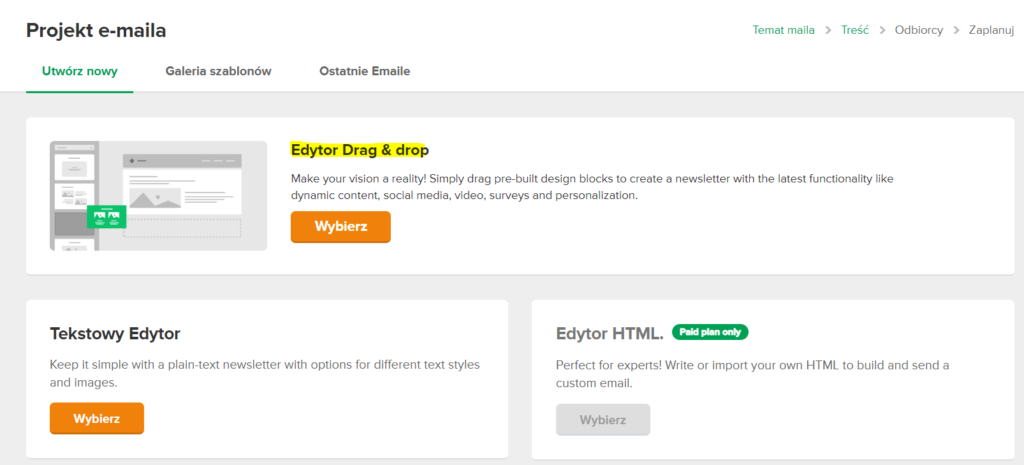 Edytor drag and drop w Mailerlite