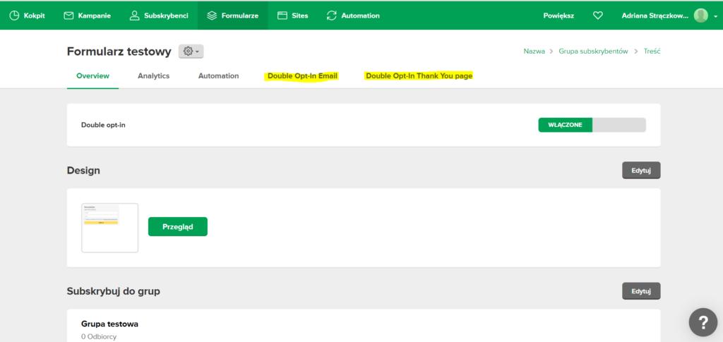 Zrzut ekranu z panelu Mailerlite - jak zacząć prowadzić newsletter?