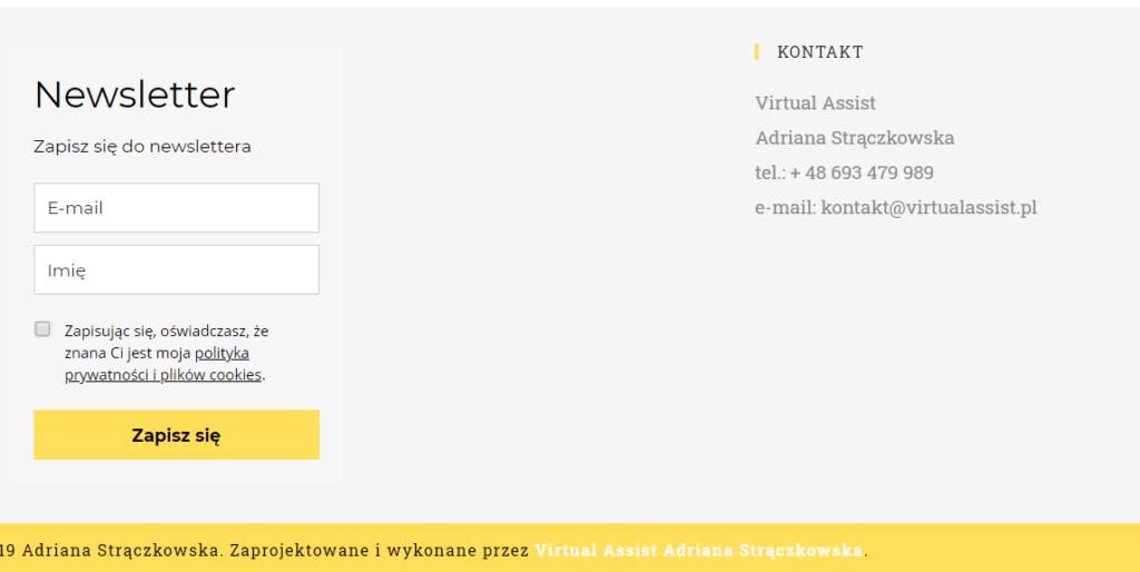 Zrzut ekranu ze strony internetowej - jak zacząć prowadzić newsletter?