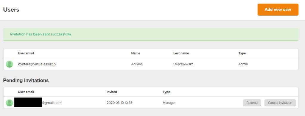Zrzut ekranu Mailerlite - jak dać dostęp do Mailerlite wirtualnej asystentce?