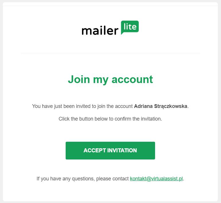 E-mail z zaproszeniem do Mailerlite - jak dać dostęp do Mailerlite wirtualnej asystentce?