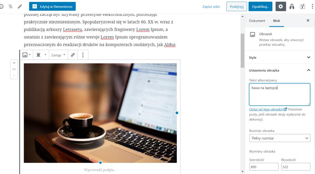 Jak dodać tekst alternatywny w wordpressie?