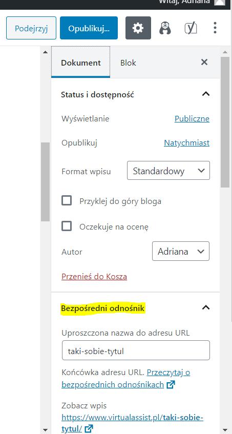 Jak zmienić URL wpisu w wordpressie?