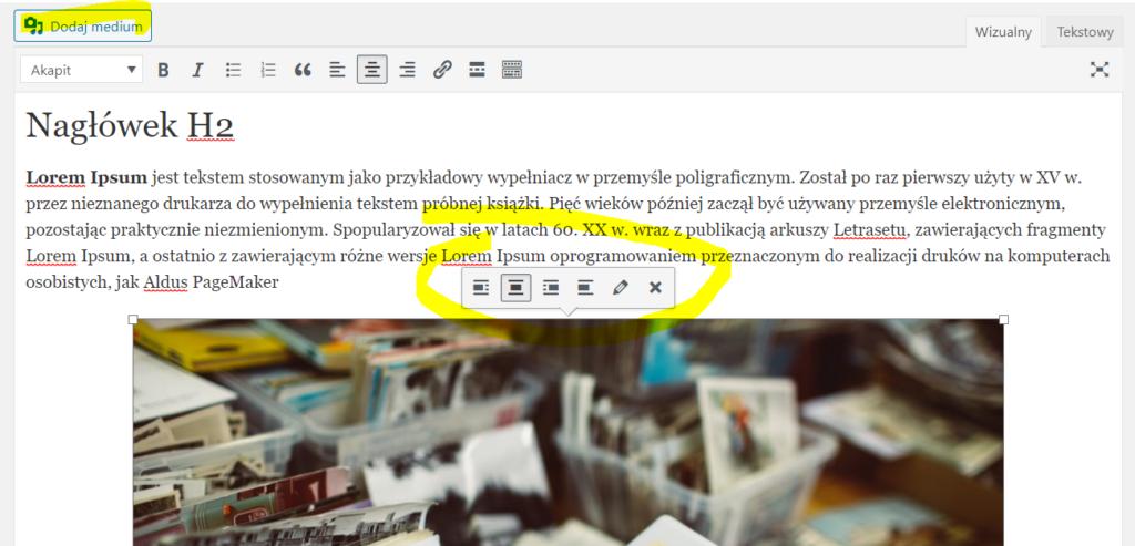Klasyczny edytor wordpressa.