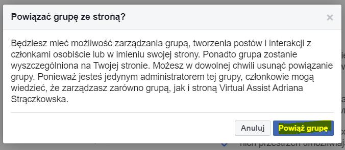 Jak połączyć fanpage ze grupą na facebooku?